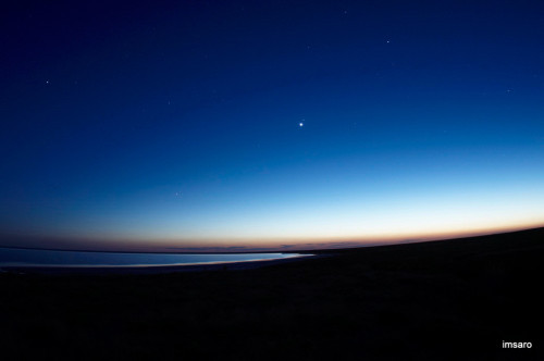 Первые звезды. Природный парк Эльтонский. Озеро Эльтон. Палласовский район. Волгоградская область.