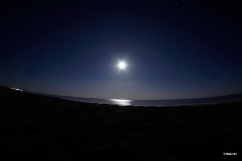 Луна. Природный парк Эльтонский. Озеро Эльтон. Палласовский район. Волгоградская область.